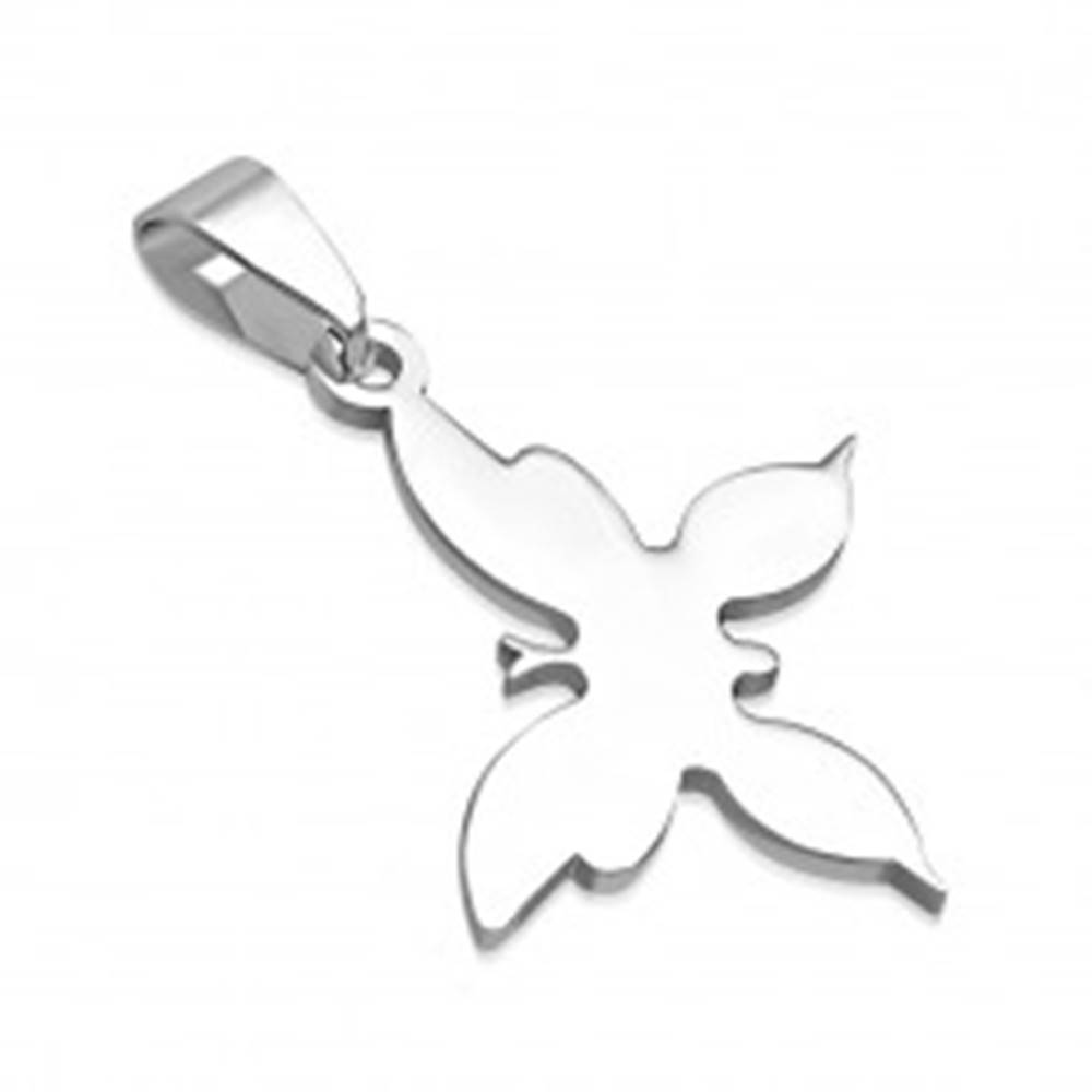 Šperky eshop Prívesok z chirurgickej ocele - motýľ striebornej farby
