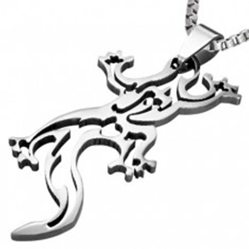 Šperky eshop Prívesok z ocele - jašterička, obrys