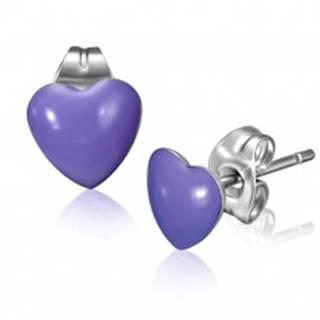 Oceľové náušnice s fialovými srdiečkami a puzetkami