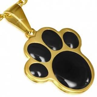 Prívesok z ocele zlatej farby, čierna zvieracia labka