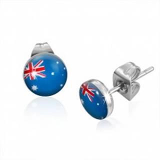 Puzetové náušnice z ocele - vlajka Austrálie