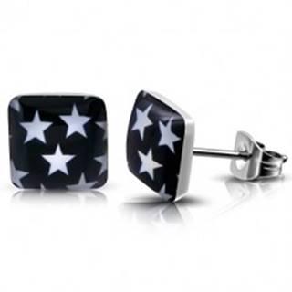 Puzetové oceľové náušnice - štvorec s bielymi hviezdami