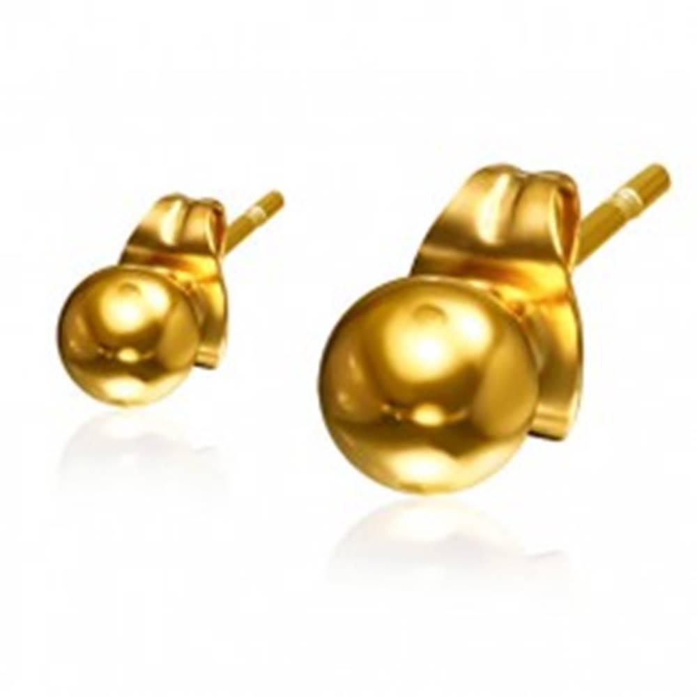 Šperky eshop Guličkové oceľové náušnice zlatej farby, 4 mm