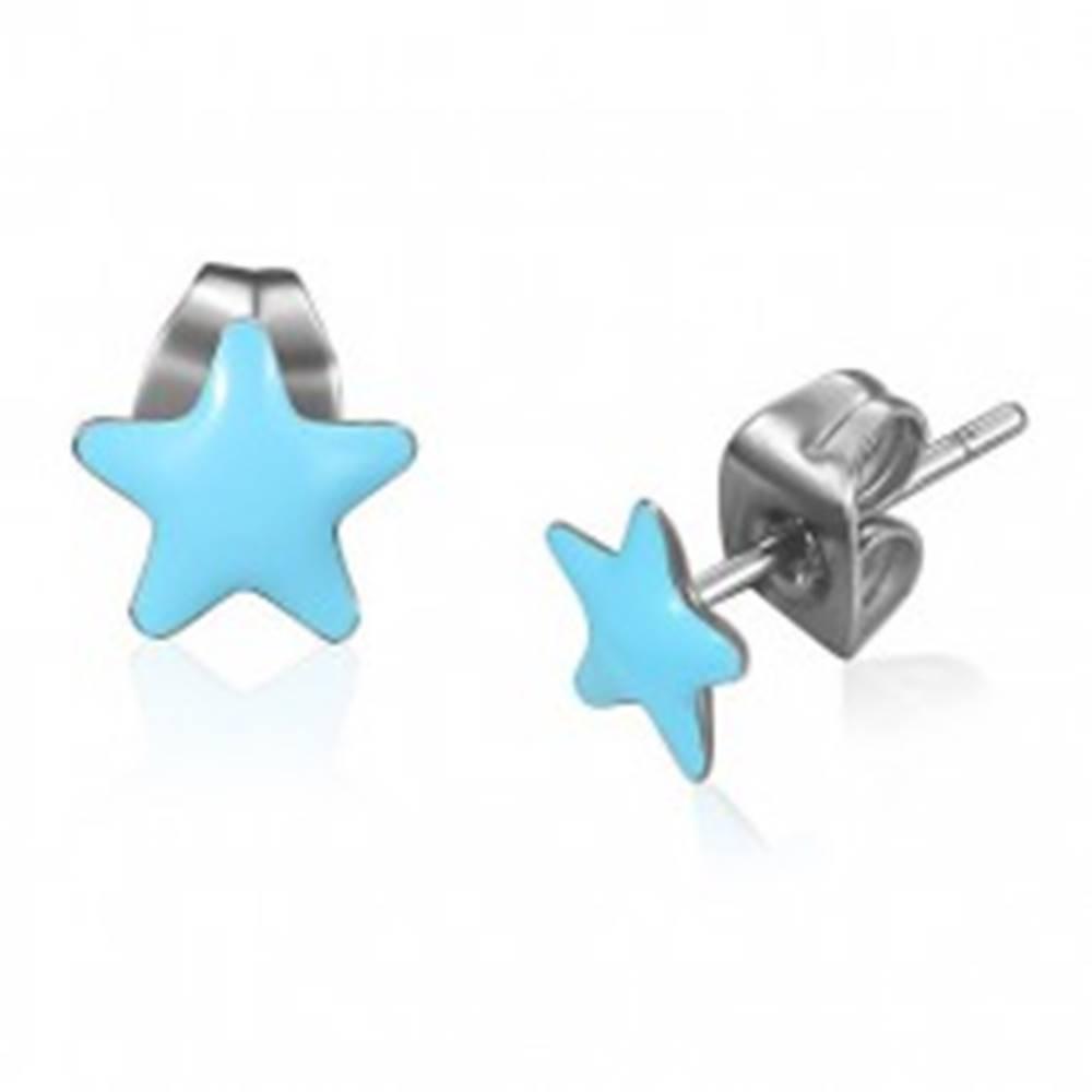 Šperky eshop Oceľové náušnice - modré glazúrované hviezdy