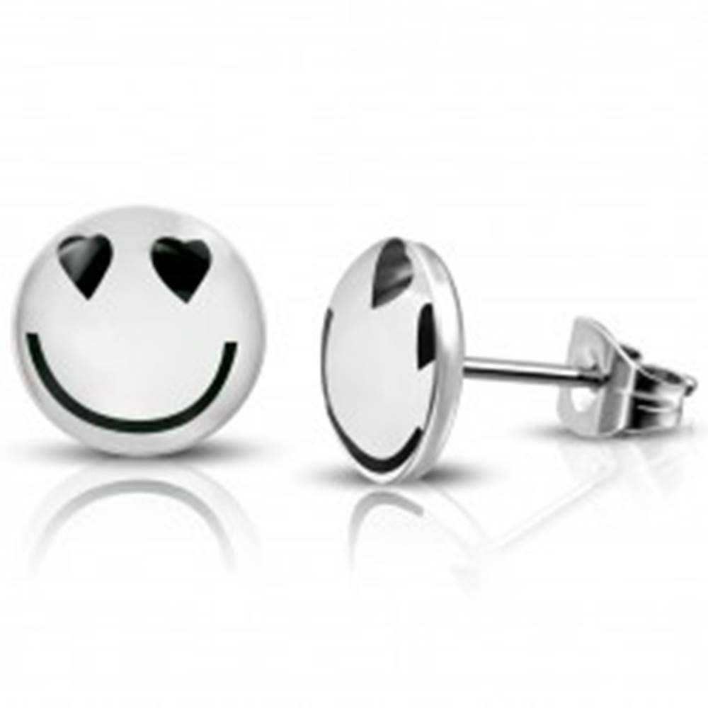 Šperky eshop Oceľové náušnice - puzetky, smajlík, srdiečkové očká