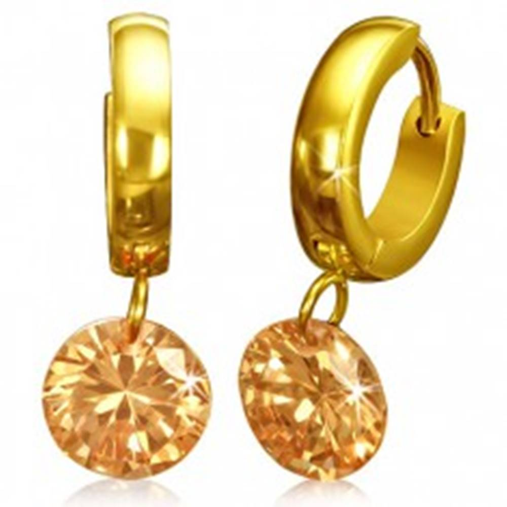 Šperky eshop Okrúhle náušnice z chirurgickej ocele - zlatá farba, oranžový kamienok