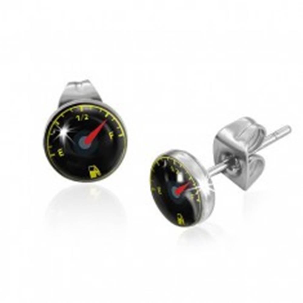 Šperky eshop Puzetové náušnice z ocele - palivomer s ručičkou