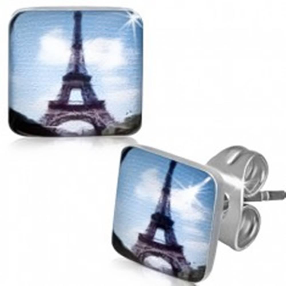 Šperky eshop Štvorcové oceľové náušnice s Eiffelovou vežou