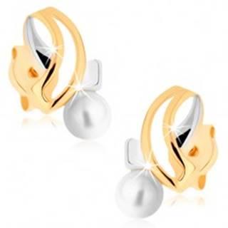 Náušnice v žltom 9K zlate - dvojfarebné pretínajúce sa línie, biela perla
