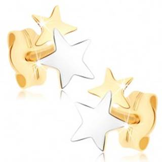 Puzetové náušnice zo žltého 9K zlata - dvojfarebné hviezdičky
