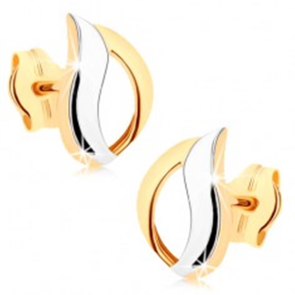 Šperky eshop Náušnice z 9K zlata - dvojfarebná kontúra kvapky, vysoký lesk