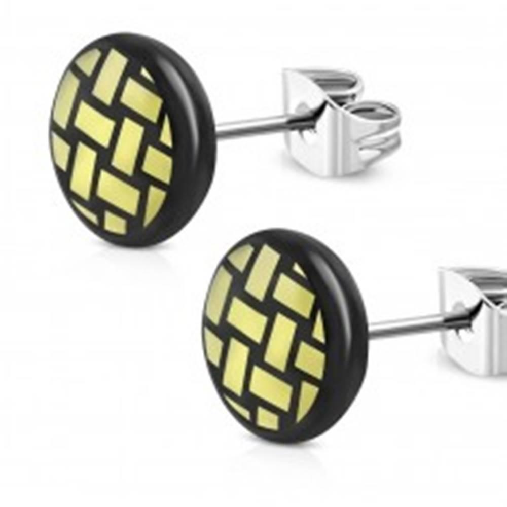 Šperky eshop Náušnice z chirurgickej ocele - čierny krúžok, vypletaný motív žltej farby, 7 mm