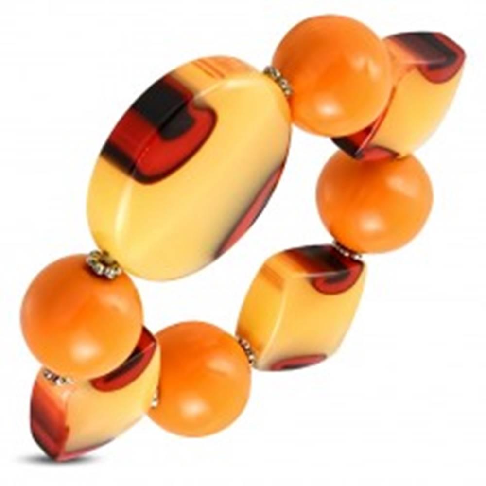 Šperky eshop Pružný náramok - oranžové guľôčky, mliečne sklo s oranžovým nádychom, očká