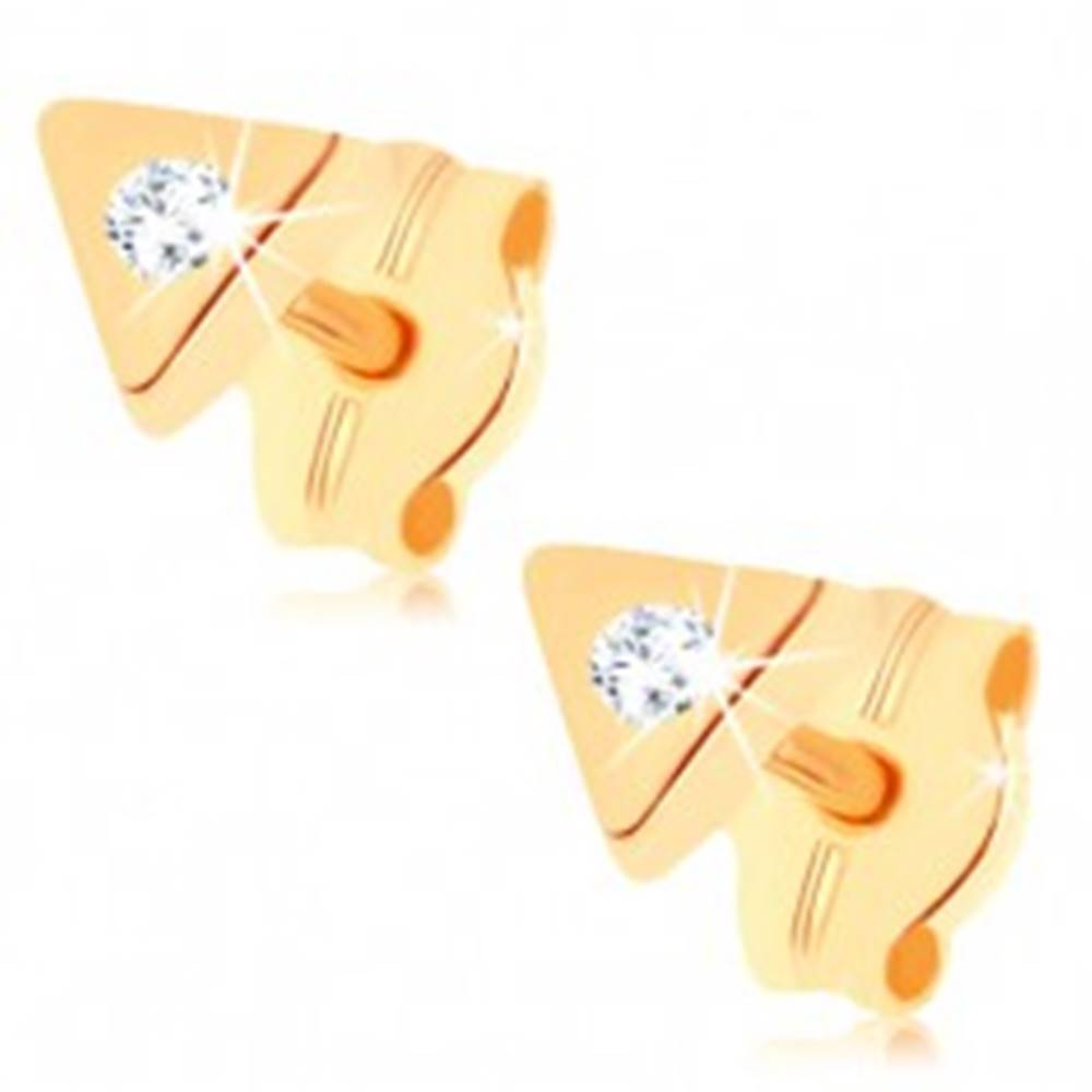 Šperky eshop Puzetové náušnice v žltom 9K zlate - malý trojuholník, ligotavý číry zirkónik