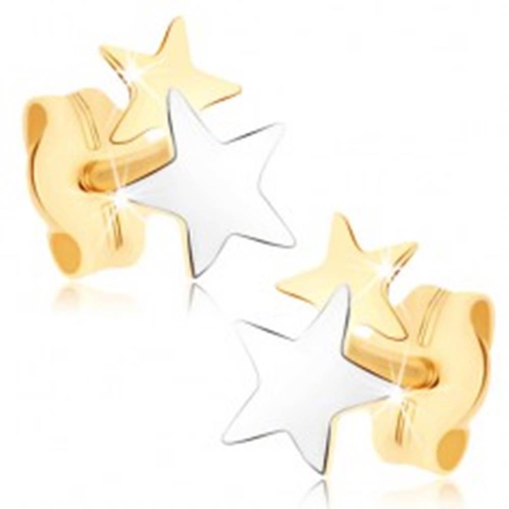 Šperky eshop Puzetové náušnice zo žltého 9K zlata - dvojfarebné hviezdičky