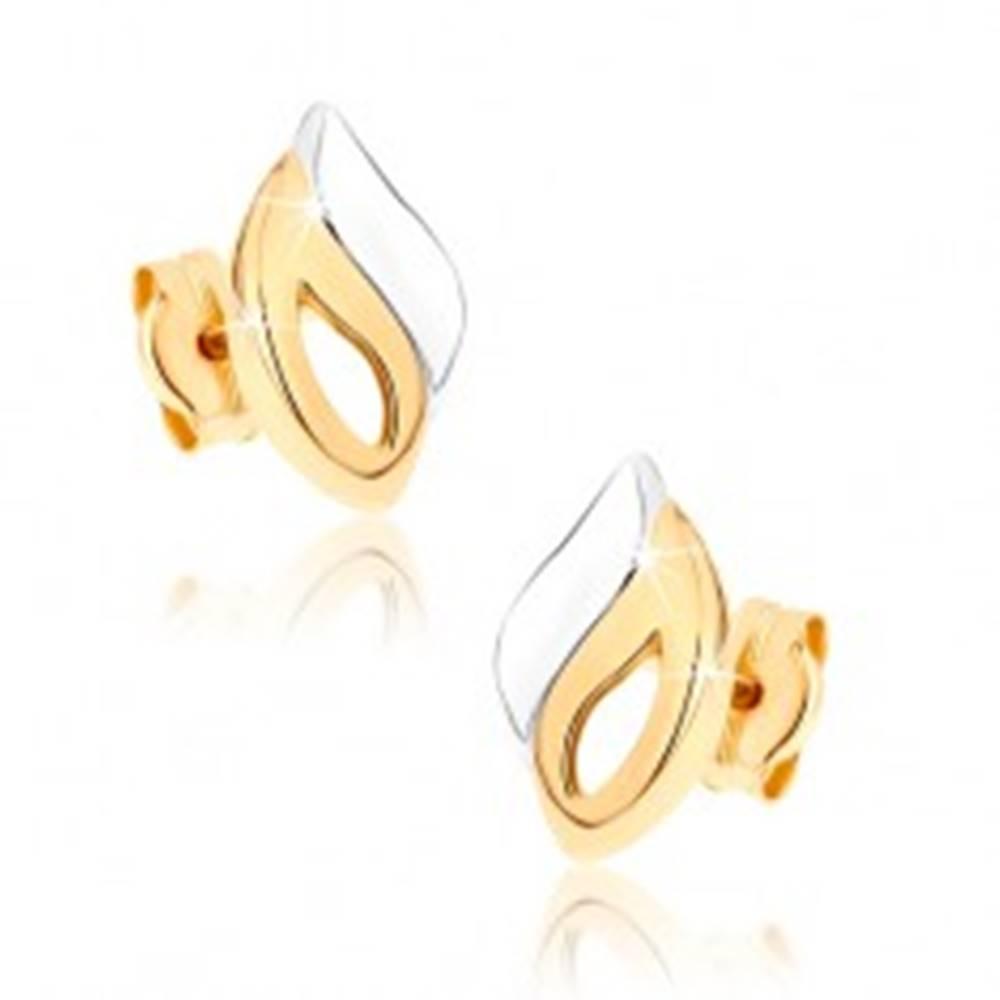 Šperky eshop Zlaté náušnice 375 - zahnutý slzičkový obrys a vlnka, dvojfarebné prevedenie