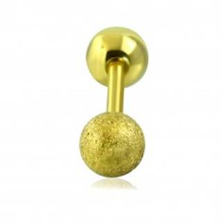 Piercing do tragusu z ocele - hladká a pieskovaná guľôčka zlatej farby, 16 mm