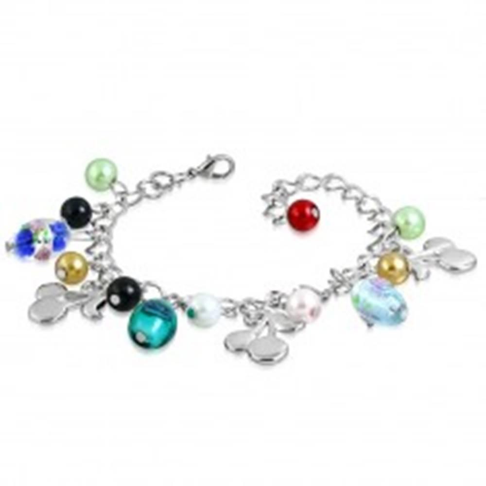 Šperky eshop Retiazkový náramok s príveskami - korálky s ružičkami, čerešne, umelé perly