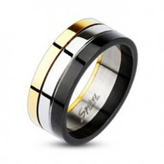 Lesklý trojfarebný prsteň z ocele - Veľkosť: 58 mm