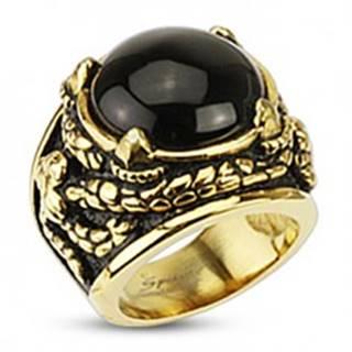 Mohutný prsteň zlatej farby z chirurgickej ocele, ónyx v dračích pazúroch - Veľkosť: 57 mm