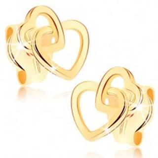 Náušnice v žltom 9K zlate - prepojené obrysy dvoch symetrických srdiečok
