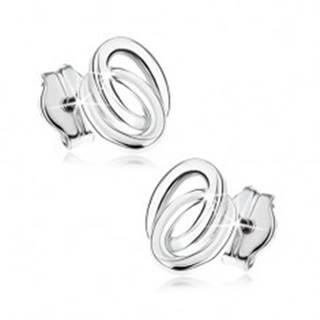 Puzetové náušnice v bielom 9K zlate - dva prepojené prstence
