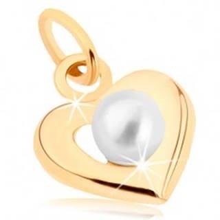 Zlatý prívesok 375 - široká srdiečková kontúra, biela guľatá perlička