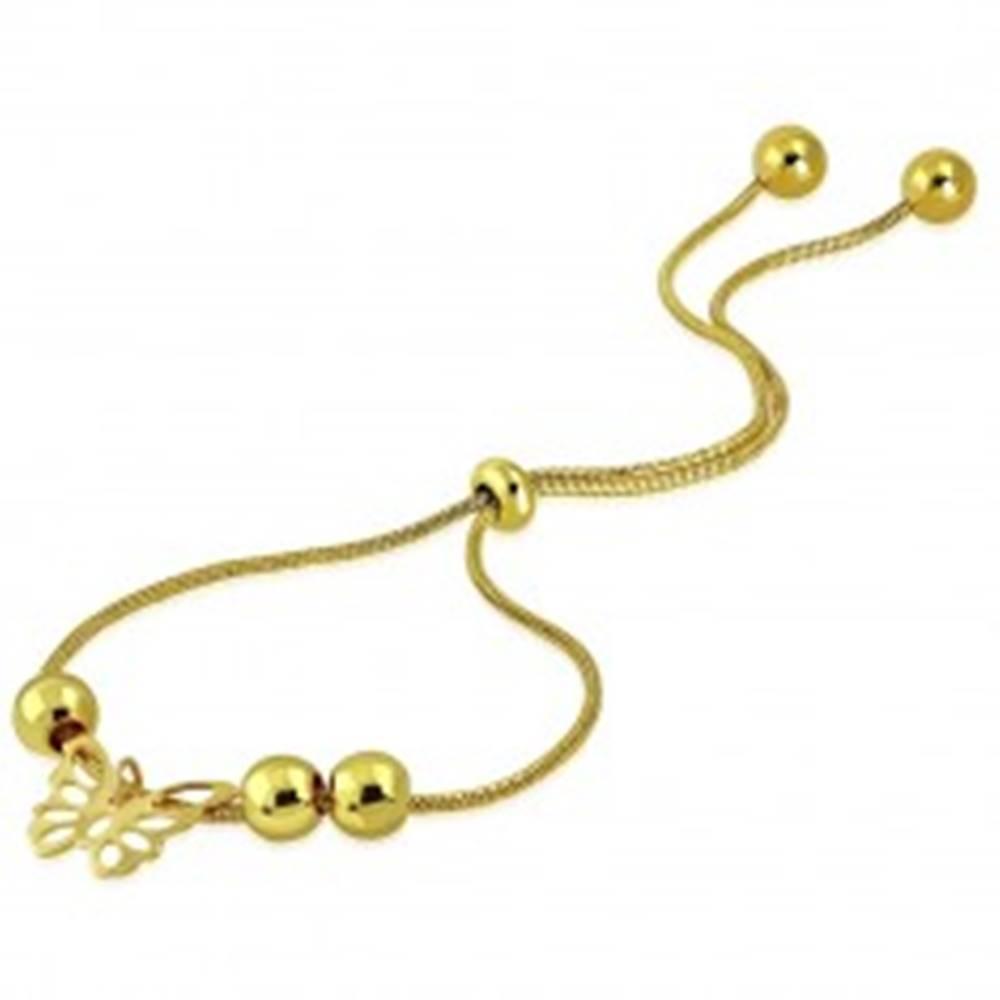 Šperky eshop Náramok zlatej farby z ocele - vyrezávaný motýlik, guličky, vzor hadej kože