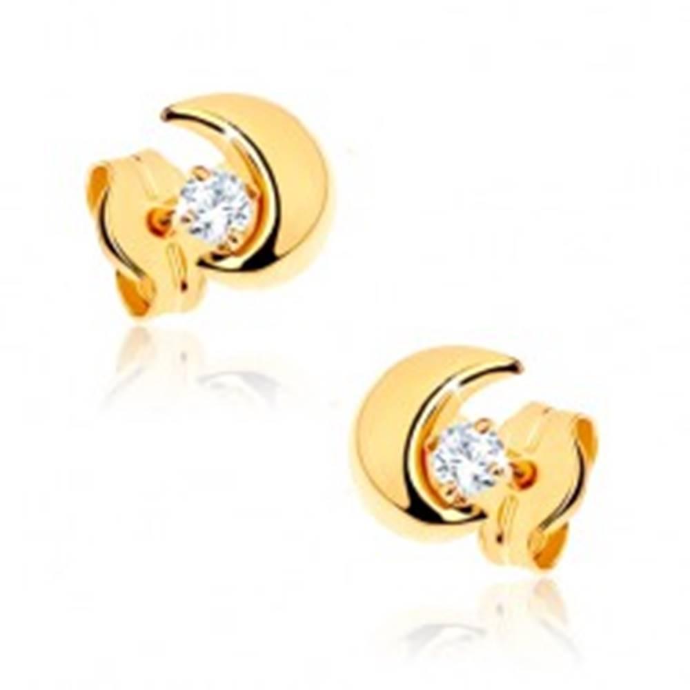 Šperky eshop Náušnice v žltom 9K zlate - malý polmesiac s kamienkom čírej farby
