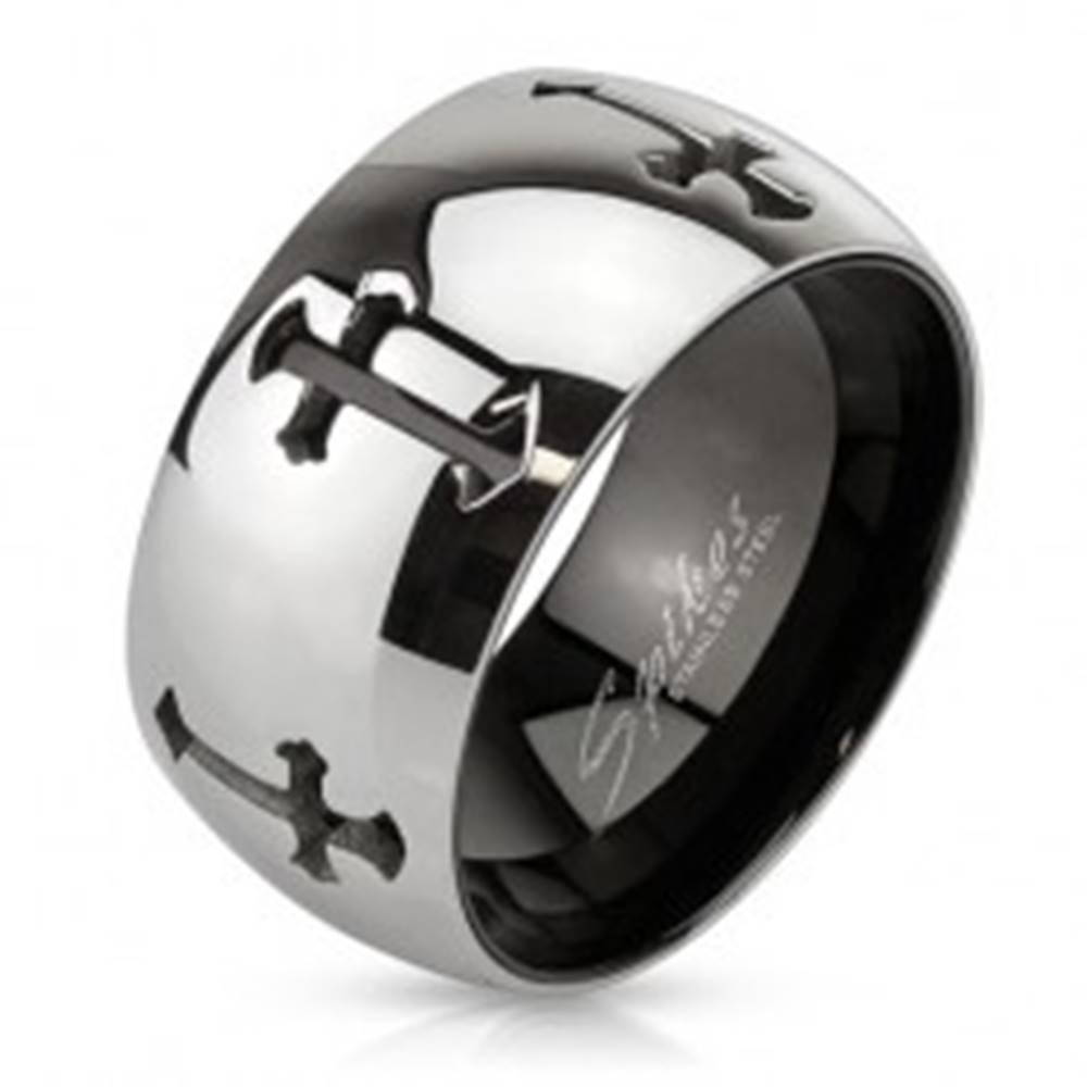 Šperky eshop Obrúčka z ocele s vyrezanými krížmi, zrkadlovo lesklý povrch - Veľkosť: 59 mm