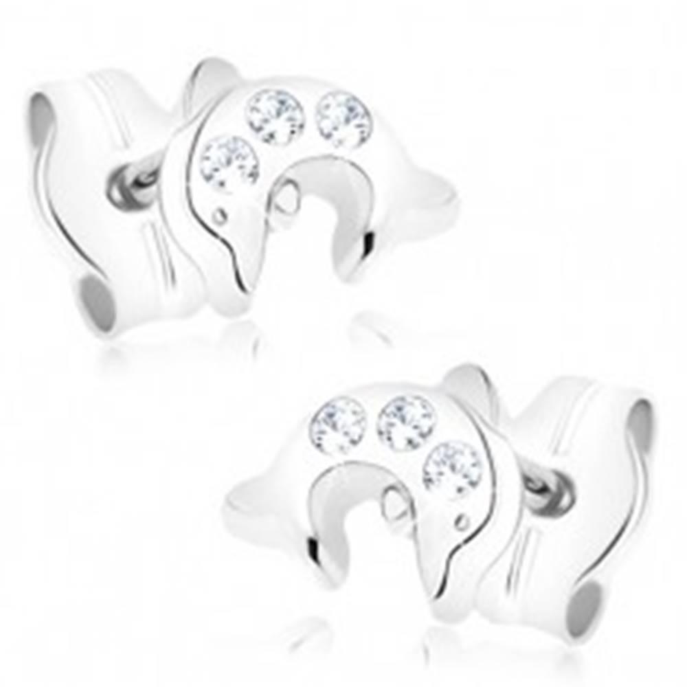 Šperky eshop Zlaté náušnice 375 - malý skáčuci delfín, tri okrúhle číre zirkóniky