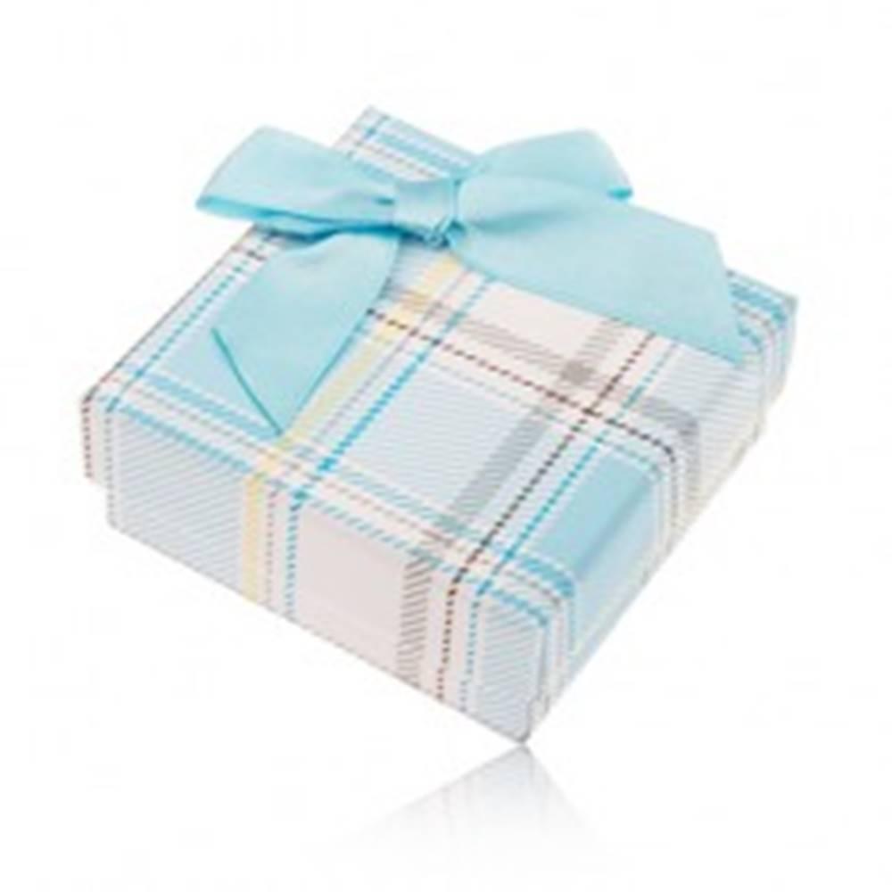 Šperky eshop Darčeková krabička na prsteň a náušnice, károvaný motív, svetlomodrá mašlička