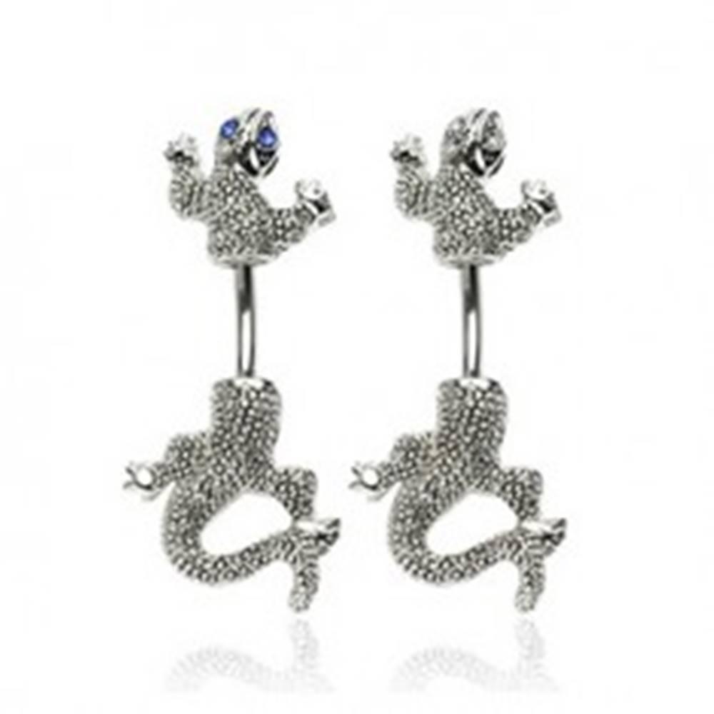 Šperky eshop Piercing do pupku z chirurgickej ocele, patinovaná jašterica so zirkónovými očami - Farba zirkónu: Červená - R