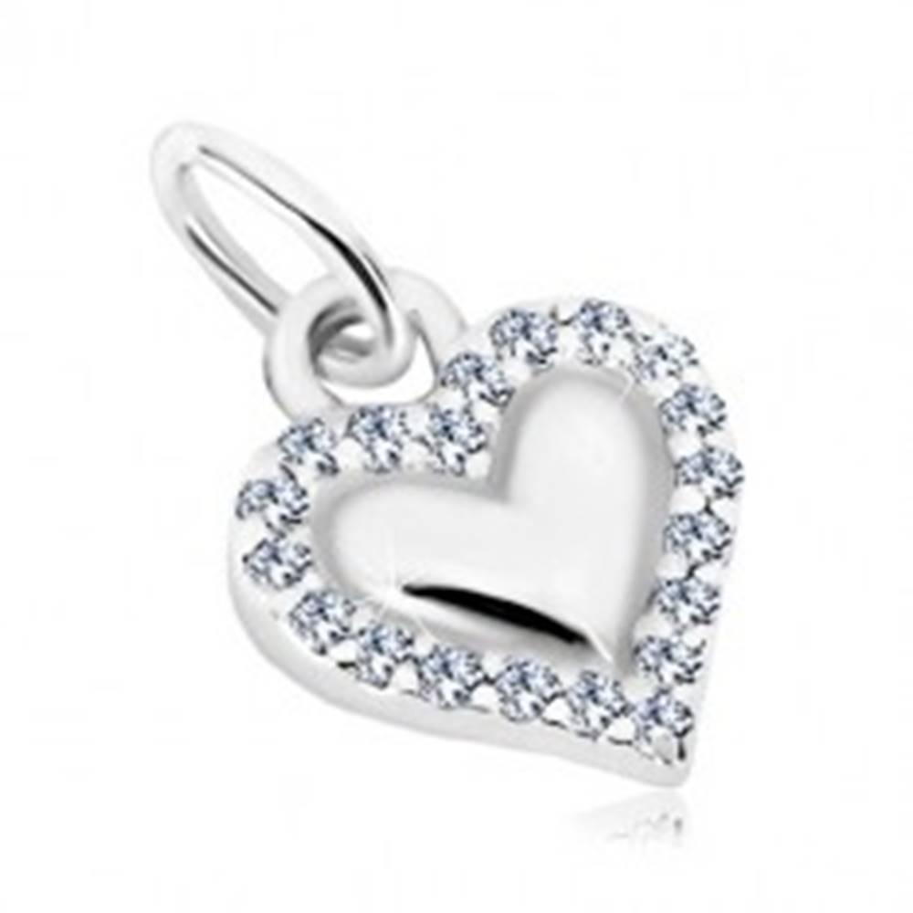 Šperky eshop Prívesok, striebro 925 - lesklé srdce, obrys z transparentných zirkónov