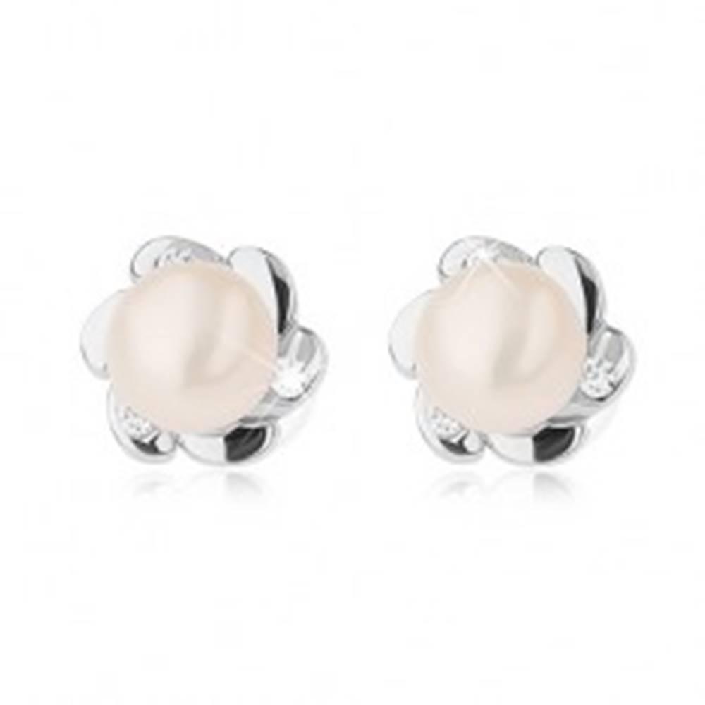 Šperky eshop Strieborné 925 náušnice, kvietok s hladkými a zirkónovými lupeňmi, biela perla