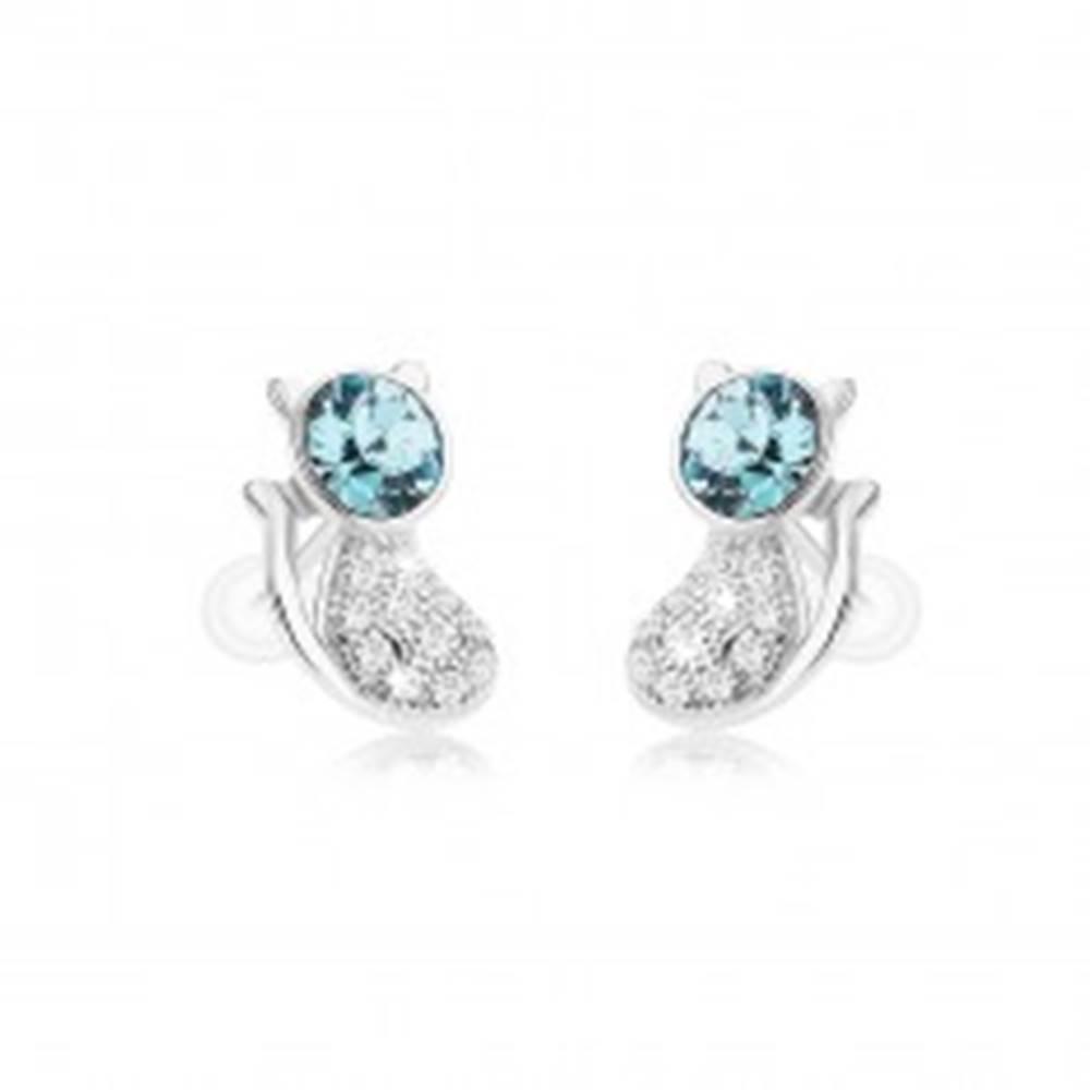 Šperky eshop Strieborné náušnice 925, ligotavá mačička, okrúhly zirkón v modrom odtieni