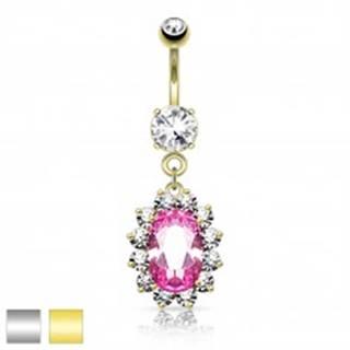 Oceľový piercing do pupka, ružový zirkónový ovál, číry ligotavý lem - Farba piercing: Strieborná