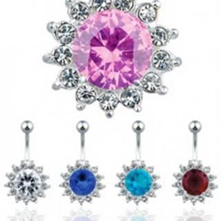 Oceľový piercing do pupku, farebný zirkónový kvet - Farba zirkónu: Aqua modrá - Q