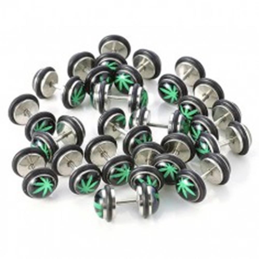 Šperky eshop Oceľový fake plug do ucha, zelený list marihuany