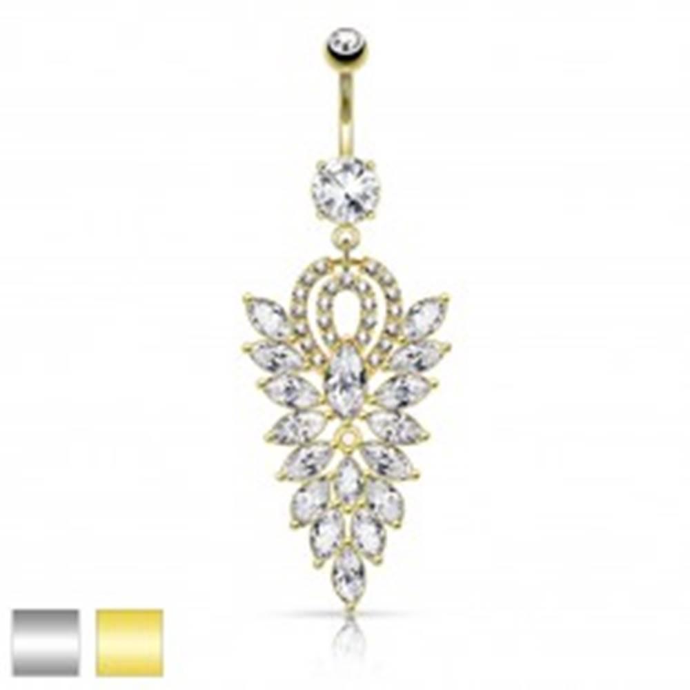 Šperky eshop Oceľový piercing do bruška, veľký list zo zrnkových čírych zirkónov - Farba piercing: Strieborná