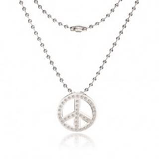 Náhrdelník z chirurgickej ocele - armádna retiazka, symbol Peace