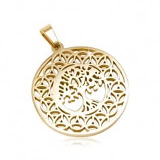 Okrúhly prívesok z ocele 316L zlatej farby, strom života, ornamenty