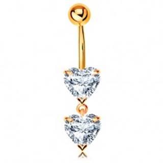 Zlatý 585 piercing do pupka - dve trblietavé srdiečka z čírych zirkónov