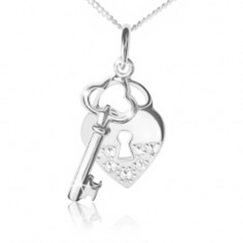 Šperky eshop Náhrdelník - striebro 925, retiazka, srdcová zámka a kľúč, číre kamienky