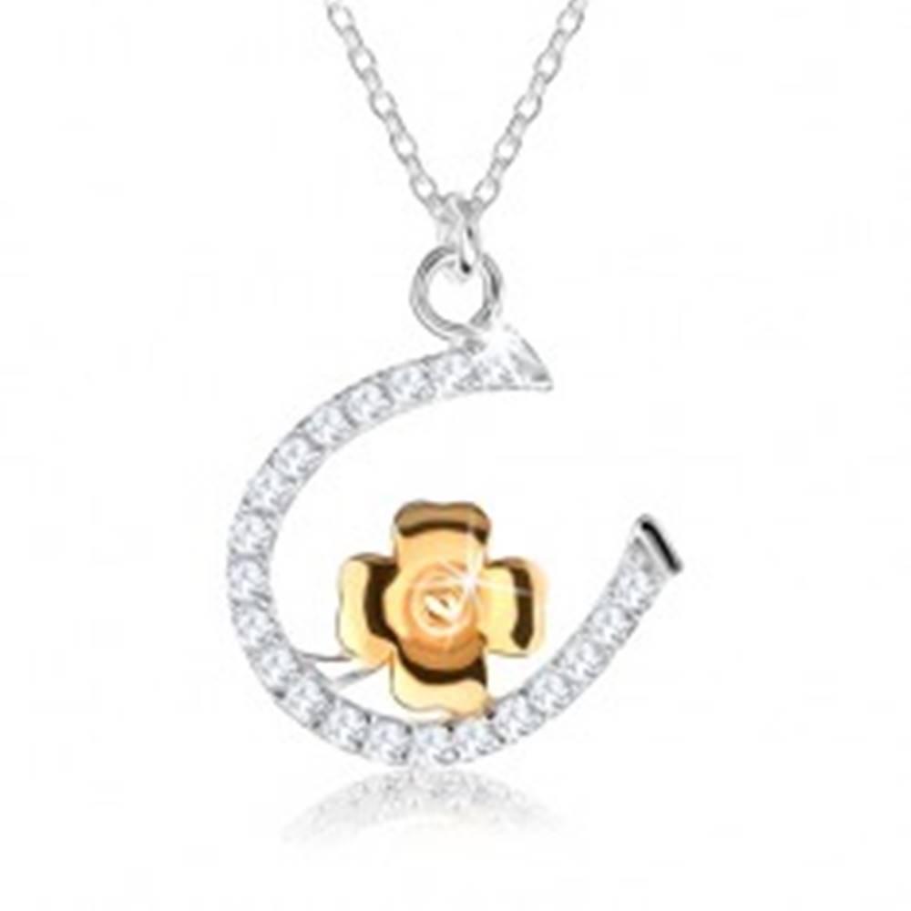 Šperky eshop Strieborný náhrdelník 925 - retiazka s podkovičkou a štvorlístkom pre šťastie