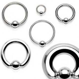 Piercing z chirurgickej ocele - mohutný kruh s guličkou striebornej farby, hrúbka 8 mm - Hrúbka x priemer x veľkosť guličky: 8 mm x 12 mm x 10 mm