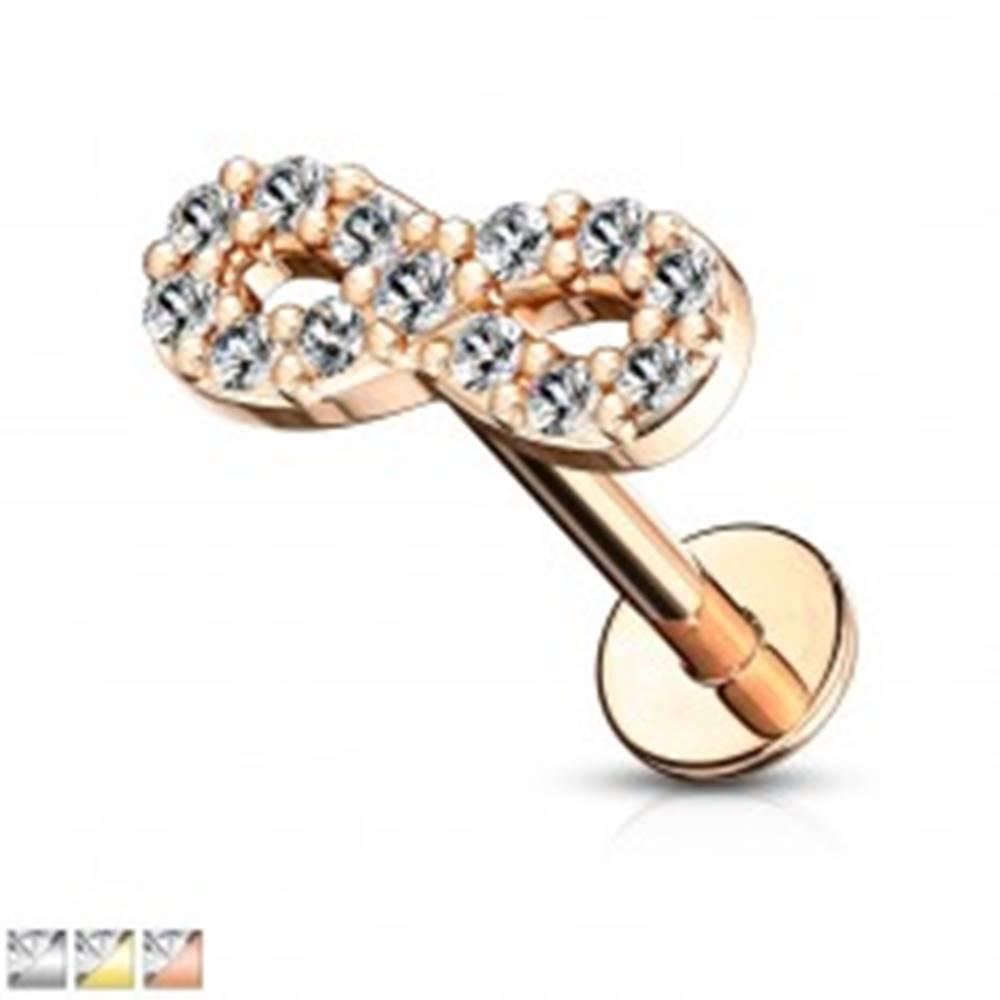 Šperky eshop Piercing do brady, pery, alebo ucha - symbol nekonečna so zirkónmi, dĺžka 6 mm - Farba piercing: Ružová Zlatá