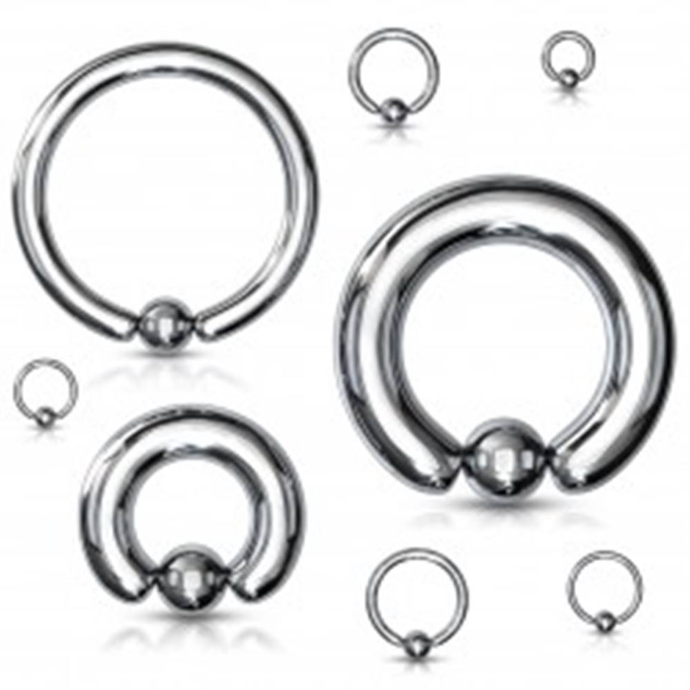 Šperky eshop Piercing z ocele 316L - jednoduchý krúžok s guľočkou, strieborná farba, hrúbka 6 mm - Hrúbka x priemer x veľkosť guličky: 6 mm x 12 mm x 8 mm