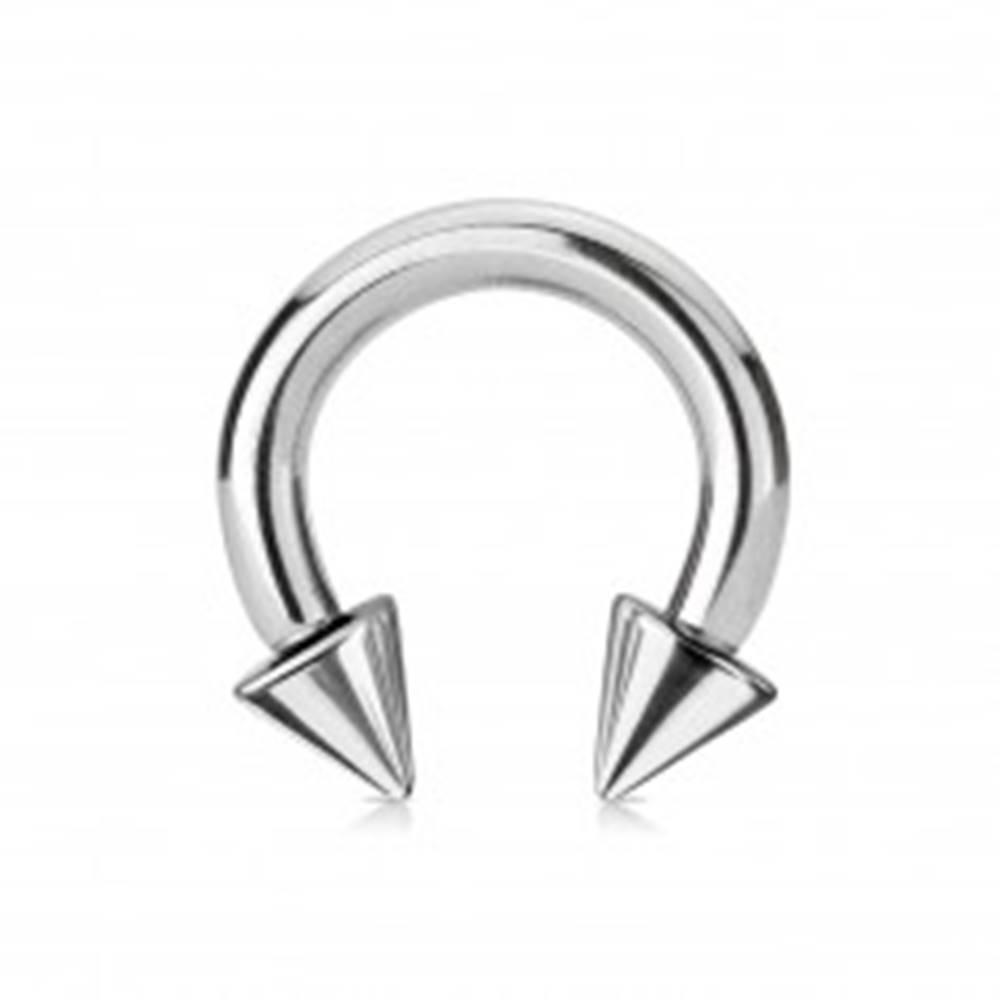 Šperky eshop Piercing z ocele 316L - lesklá podkova s hrotmi, strieborná farba, hrúbka 4 mm - Rozmer: 4 mm x 12 mm x 8x8 mm