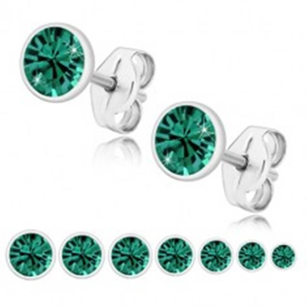 Šperky eshop Náušnice zo striebra 925 - smaragdovozelený zirkón v lesklej objímke, puzetky - Veľkosť zirkónu: 2 mm